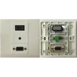 image of HDMI V1.4 VGA AUDIO 3.5mm FACE PLATE WALL PLATE (S173)