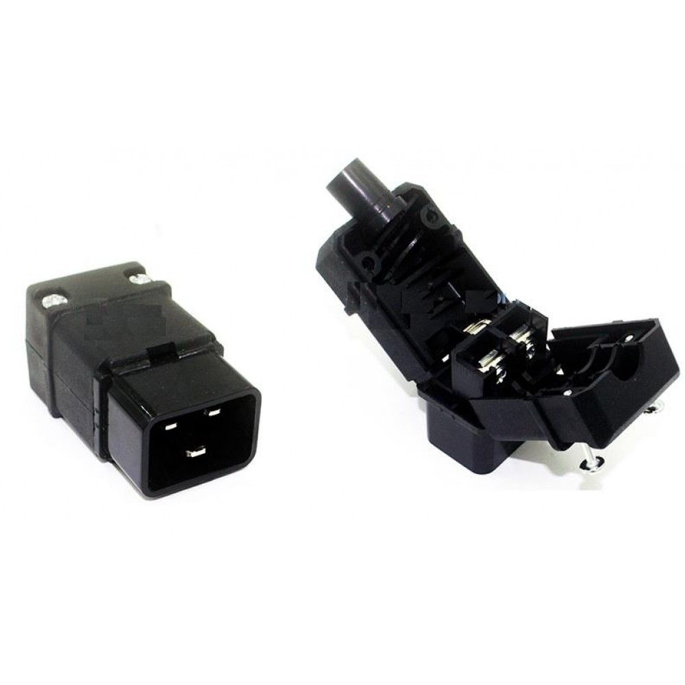IEC-320-C20 AC Cable Mount Rewireable Connector Male Plug (S371)