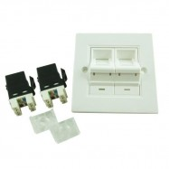 image of CAT6/ CAT-6 Double Degree Face plate with Keystone Jacks (S386)
