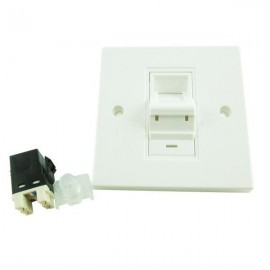 image of CAT6/ CAT-6 Single Port Degree Face Plate + Keystone Jack (S385)