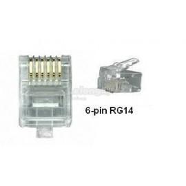 image of RJ14 6 PIN MODULAR PLUG 100'S (S406)