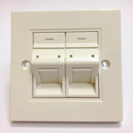 image of RJ45 2GANG DEGREE FACE PLATE WALL PLATE (S390)