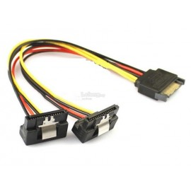 image of 15 Pin to 2 Female SATA Power Splitter Y Cable Degree Latches (S431)