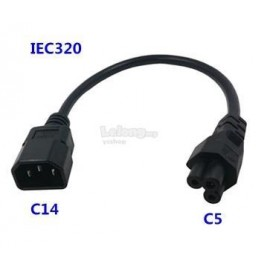image of IEC-320 AC Power Cord with C14 to C5 20cm (S438)