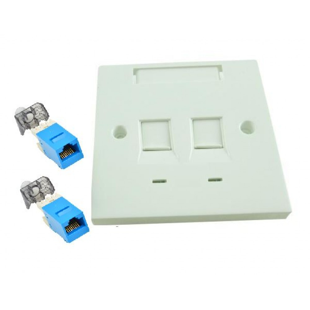CAT6 Double Face Plate Flat with Keystone Jack SET (S485)