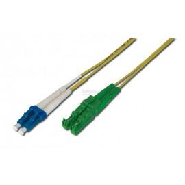 image of E2K/APC TO LC/UPC SINGLE MODE DUPLEX FIBER PATCH CABLE 20M (S487)