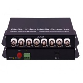 image of 8Port 1pair PAL/ NTSC/ SECAM Video Data Fiber Media Converter (S494)