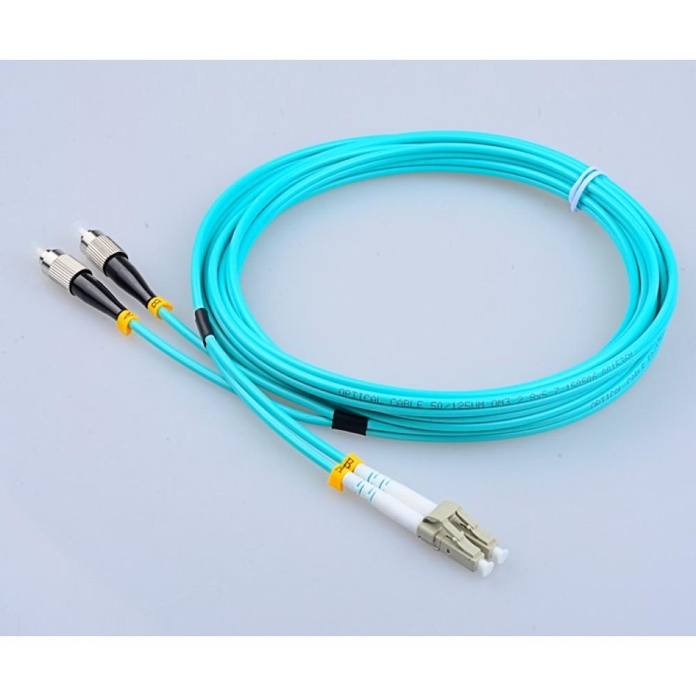 LC-FC 50/125um OM3 MultiMode Duplex Fiber Optic 15 Meter (S497)