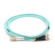 image of LC-ST 50/125um OM3 Multimode Duplex Fiber Optic 10 Meter (S499)