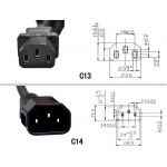 C13-4*C14 4 in 1 Splitter Power Extension Cable 10A 250V 50cm (S528)