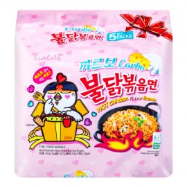 image of Korea Samyang Carbonara Hotpot Fried Spicy Chicken Noodle Ramen(130g x 5) - KN236