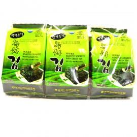 image of [Joy Snacks] Korea NH Roasted Seaweed With Green Tea 12g (4gx3ea) - KN381