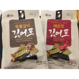 image of [Joy Snacks] MRS KWON SPICY/LAVER FISH JERKY SNACK 20G - kn469/kn470