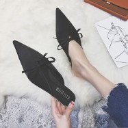 image of Bow flat-bottomed pointed toe half-slip sandals and slippers