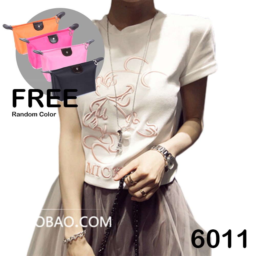 【READY STOCK PROMO】 6011 & 6056 Mickey Mouse T-Shirt FREE Cosmetic Bag