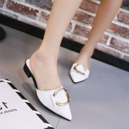 image of Small pointed toe flat with half a pair of slippers
