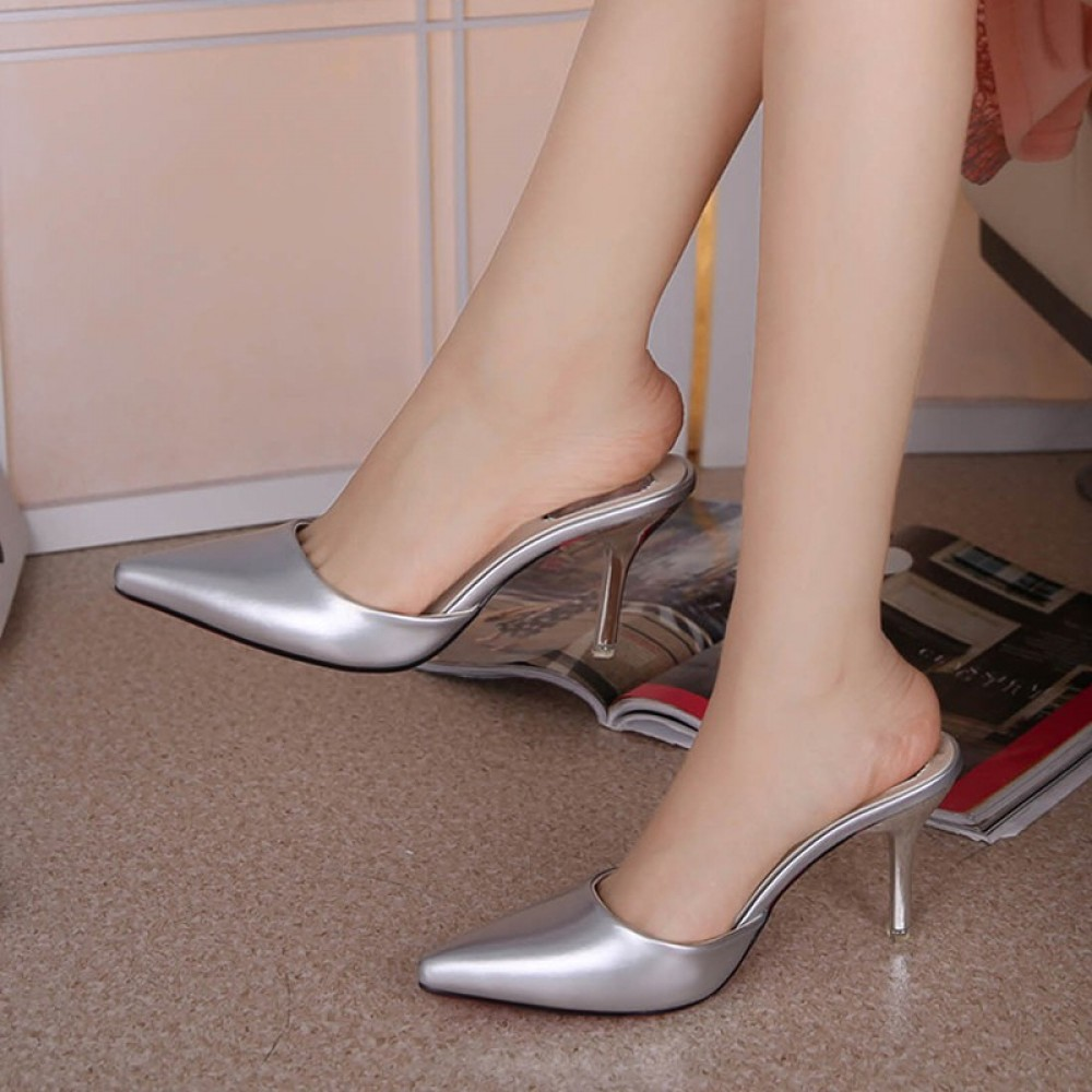 Fine-heeled high-heeled toe cap with half-tip pointed sandals