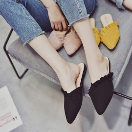 image of Pointed flat bottom cover half slippers