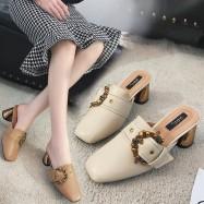 image of High-heeled toe cap square head half belt buckle one-slip slippers