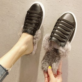 image of Flat bottom furry head half slippers
