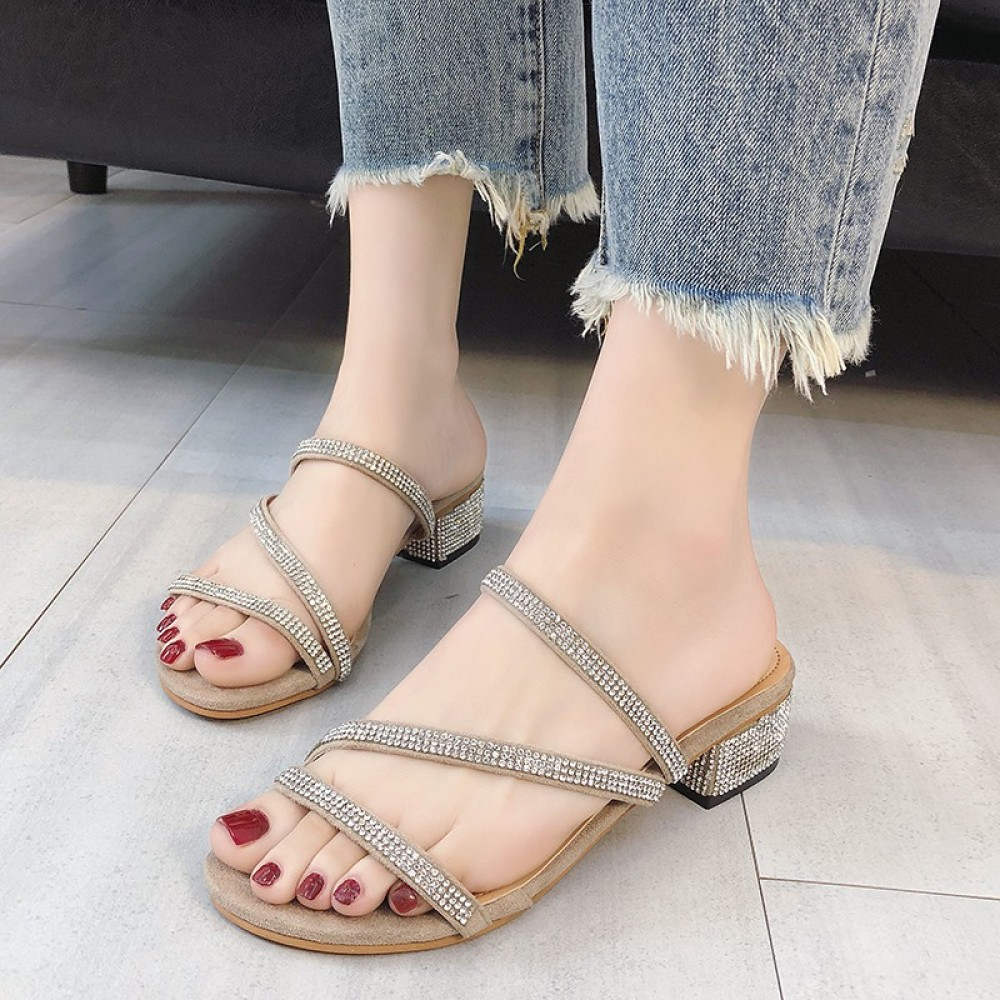 Chic with rhinestone sandals and slippers