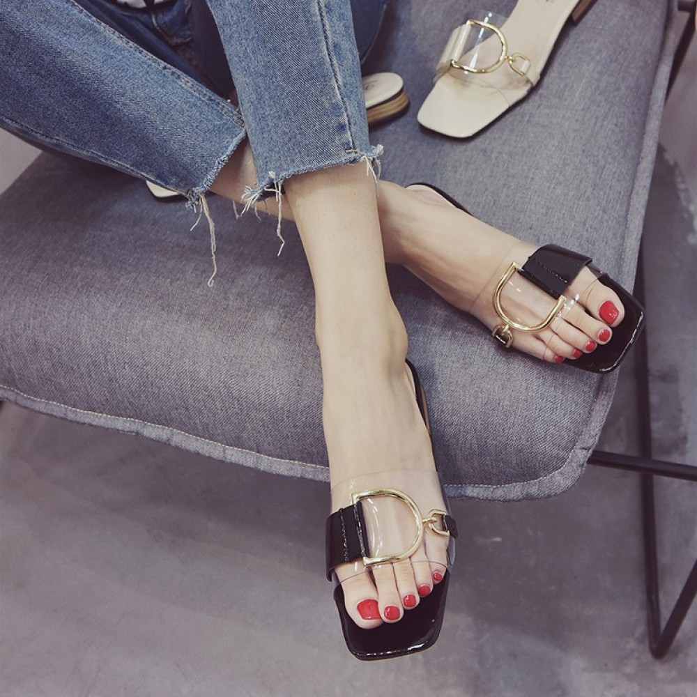 Low-heeled transparent sandals and slippers