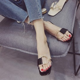 image of Low-heeled transparent sandals and slippers