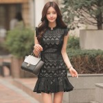 Stand Collar Lace Short Sleeve Slim Fit Ruffled Bag Hip Dress