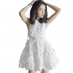 Lace water soluble flower white sexy waist short dress