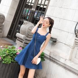 image of Hong Kong-style slim slimming sleeveless strap denim dress