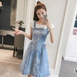 Mid-length sling denim strap dress