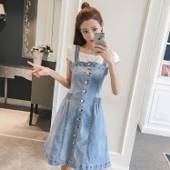 image of Mid-length sling denim strap dress