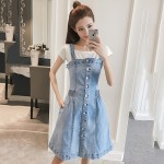 Mid-length sling denim strap dress