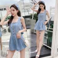 image of Retro back openwork split single-breasted high-waist wide-leg denim jumpsuit