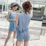 Retro back openwork split single-breasted high-waist wide-leg denim jumpsuit