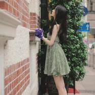 image of Open back sash floral short dress