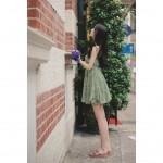 Open back sash floral short dress
