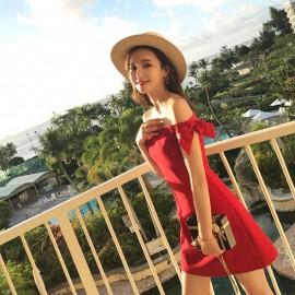image of High-waist off-the-shoulder chic one-shoulder short dress