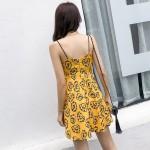 Printed beach halter waist sexy V-neck strap dress