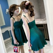 image of Waist strap pleated skirt sexy backless strapless dress