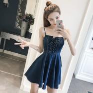 image of Long Slim Sleeveless Dress in Denim Strap
