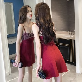 image of Tube top sling waist a word dress