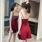 Tube top sling waist a word dress