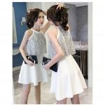 Lace Leaky Shoulder Halter Dress