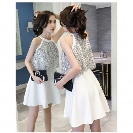 image of Lace Leaky Shoulder Halter Dress