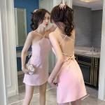 Sling open back high waist dress