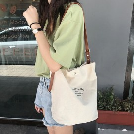 image of 【READY STOCK】2018 Korea Dongdaemun ins stitching canvas crossbody canvas bag