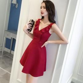 image of V-neck sexy sleeveless waist ruffled slim backless dress