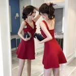 V-neck sexy sleeveless waist ruffled slim backless dress