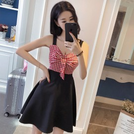 image of Sexy Low-Cut Sling Plaid Tube Top Leaning Bow Dress